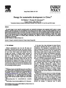 Energy for sustainable development in China $