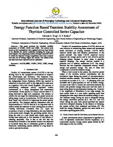 Energy Function Based Transient Stability Assessment of Thyristor Controlled Series Capacitor