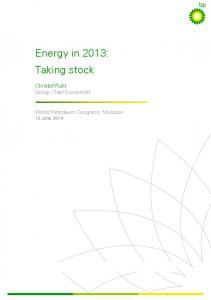 Energy in 2013: Taking stock