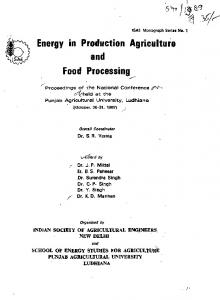 Energy in Production Agriculture and Food Processing