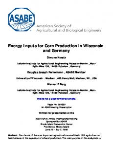 Energy Inputs for Corn Production in Wisconsin and Germany