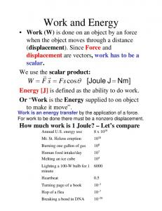 Energy [J] is defined as the ability to do work. Or Work is the Energy supplied to on object to make it move