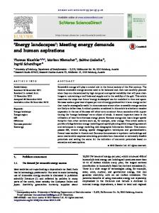 Energy landscapes : Meeting energy demands and human aspirations