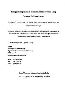 Energy Management in Wireless Mobile Systems Using. Dynamic Task Assignment