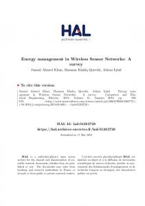Energy management in Wireless Sensor Networks: A survey
