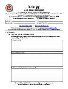 Energy Merit Badge Workbook