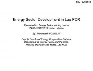 Energy Sector Development in Lao PDR