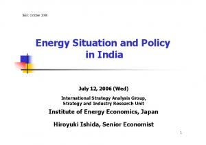 Energy Situation and Policy in India