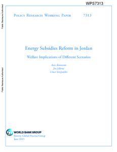 Energy Subsidies Reform in Jordan