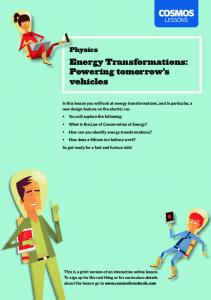 Energy Transformations: Powering tomorrow s vehicles