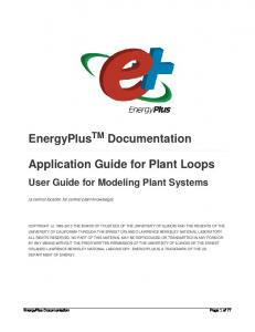 EnergyPlus Documentation. Application Guide for Plant Loops
