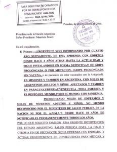ENFERMA POR LA VACUNA ANTIGRIPAL DICHO REPORTE NO SE INFORMO, NI SE INVESTIGO POR EL A.N.M.A.T, NI EL MINISTERIO DE SALUD PUBLICA DE NACION