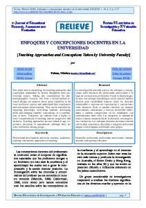 ENFOQUES Y CONCEPCIONES DOCENTES EN LA UNIVERSIDAD