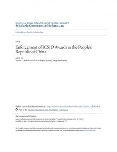 Enforcement of ICSID Awards in the People's Republic of China
