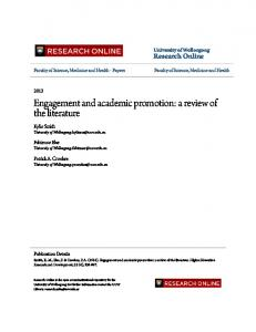 Engagement and academic promotion: a review of the literature