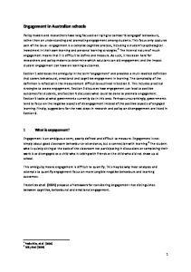 Engagement in Australian schools