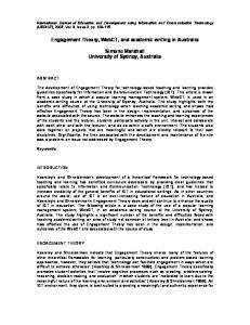 Engagement Theory, WebCT, and academic writing in Australia. Simone Marshall University of Sydney, Australia