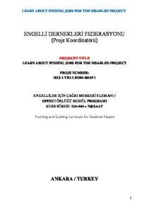 ENGELLİ DERNEKLERİ FEDERASYONU (Proje Koordinatörü)