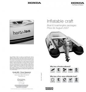 engine packages Price list August Why buy a Honda outboard? Why buy a Hon~wave inflatable boat?