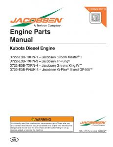 Engine Parts Manual. Kubota Diesel Engine
