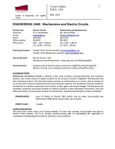 ENGINEERING 1040: Mechanisms and Electric Circuits