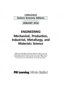 ENGINEERING Mechanical, Production, Industrial, Metallurgy, and Materials Science