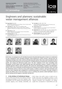 Engineers and planners: sustainable water management alliances