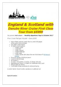 England & Scotland with Danube River Cruise First Class Tour from $5999