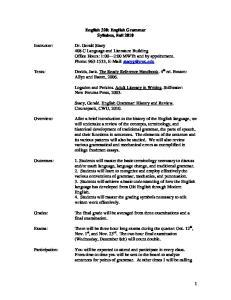 English 320: English Grammar Syllabus, Fall 2010
