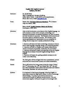 English 320: English Grammar Syllabus, Fall 2012