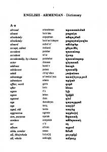 ENGLISH - ARMENIAN - Dictionary
