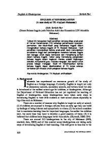 ENGLISH AT KINDERGARTEN (A case study at TK Aisyiyah Makassar)