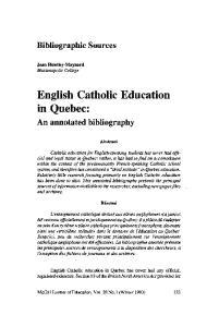 English Catholic Education in Quebec: