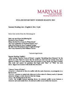 ENGLISH DEPARTMENT SUMMER READING 2015