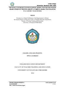 ENGLISH EDUCATION DEPARTMENT FACULTY OF TEACHER TRAINING AND EDUCATION UNIVERSITY OF NUSANTARA PGRI KEDIRI