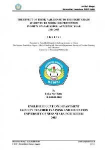 ENGLISH EDUCATION DEPARTMENT FACULTY TEACHER TRAINING AND EDUCATION UNIVERSITY OF NUSANTARA PGRI KEDIRI 2015