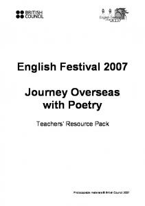 English Festival Journey Overseas with Poetry. Teachers Resource Pack