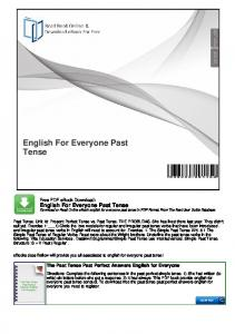 English For Everyone Past Tense