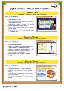 English Grammar and Skills Toolkit Contents