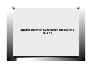 English grammar, punctuation and spelling Y5 & Y6