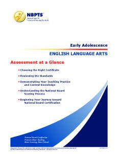 ENGLISH LANGUAGE ARTS. Assessment at a Glance. Early Adolescence. Choosing the Right Certificate. Reviewing the Standards