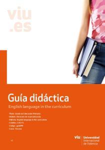 English language in the curriculum