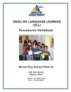 ENGLISH LANGUAGE LEARNER (ELL) Procedures Handbook