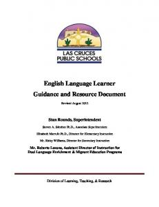 English Language Learner Guidance and Resource Document