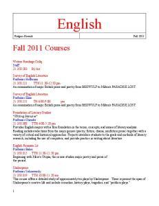 English Rutgers Newark Fall 2011