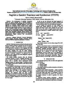 English to Sanskrit Translator and Synthesizer (ETSTS)