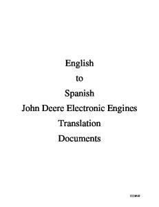 English to Spanish John Deere Electronic Engines Translation Documents
