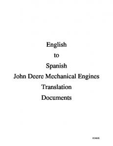 English to Spanish John Deere Mechanical Engines Translation Documents