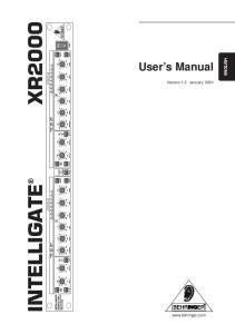 ENGLISH. User s Manual. Version 1.2 January 2001 INTELLIGATE XR2000