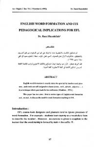 ENGLISH WORD FORMATION AND ITS PEDAGOGICAL IMPLICATIONS FOR EFL
